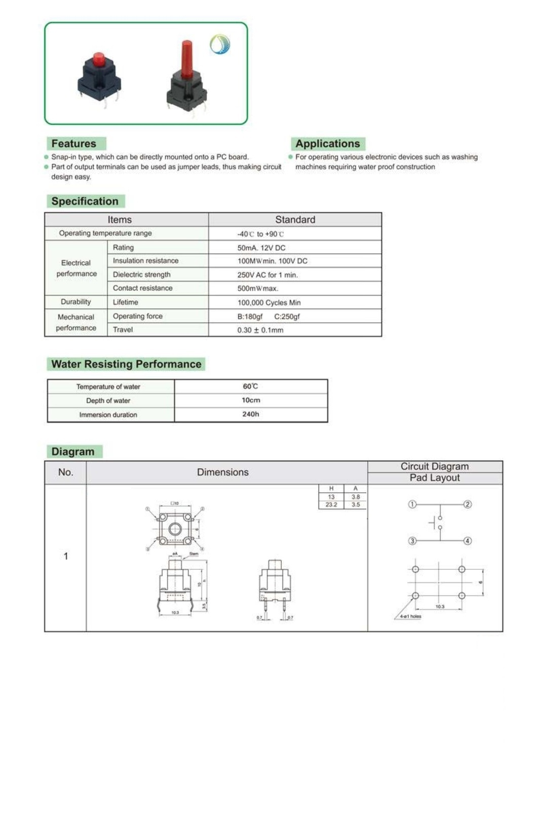 Switches And Led Indicators Tact 086076 Micros Leds Temperature Indicator Circuit Diagram Showing 21 30 Z 54 Items