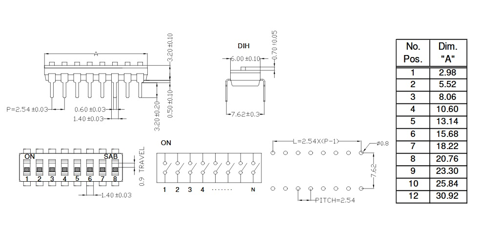 DIP Switch- IC type DIP Switches-042051 - Micros - Electronics Wholesale