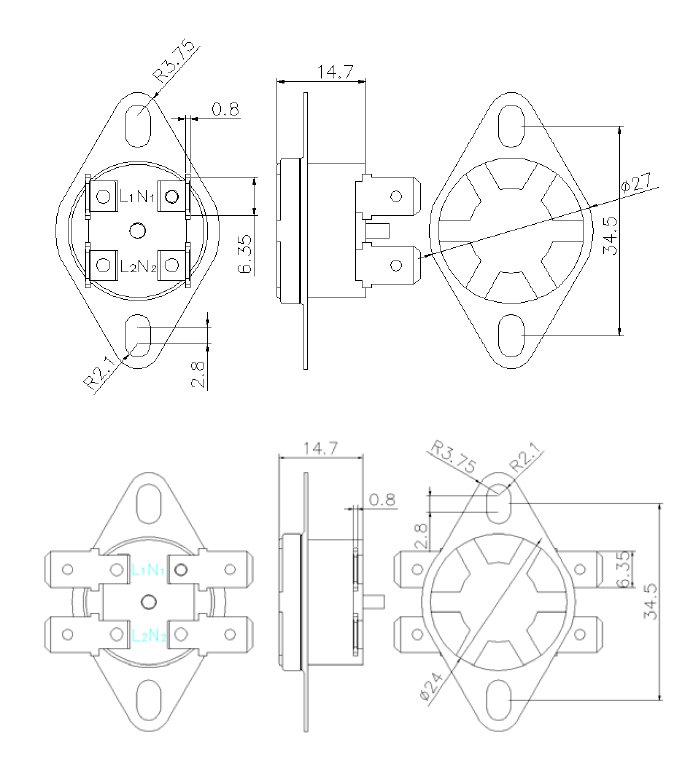 ksd302-090 15a normal closed - thermostats