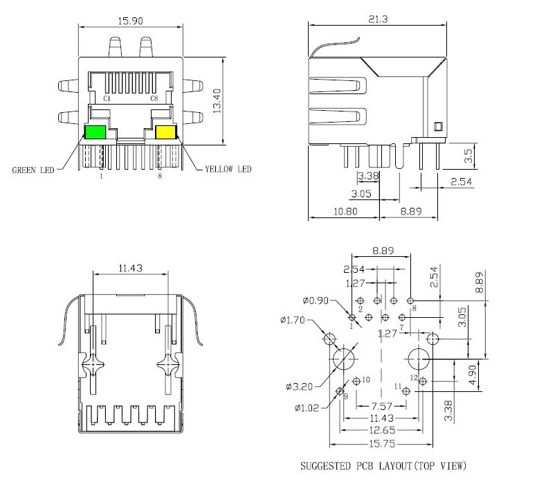 rj45 connector with 10  100 base