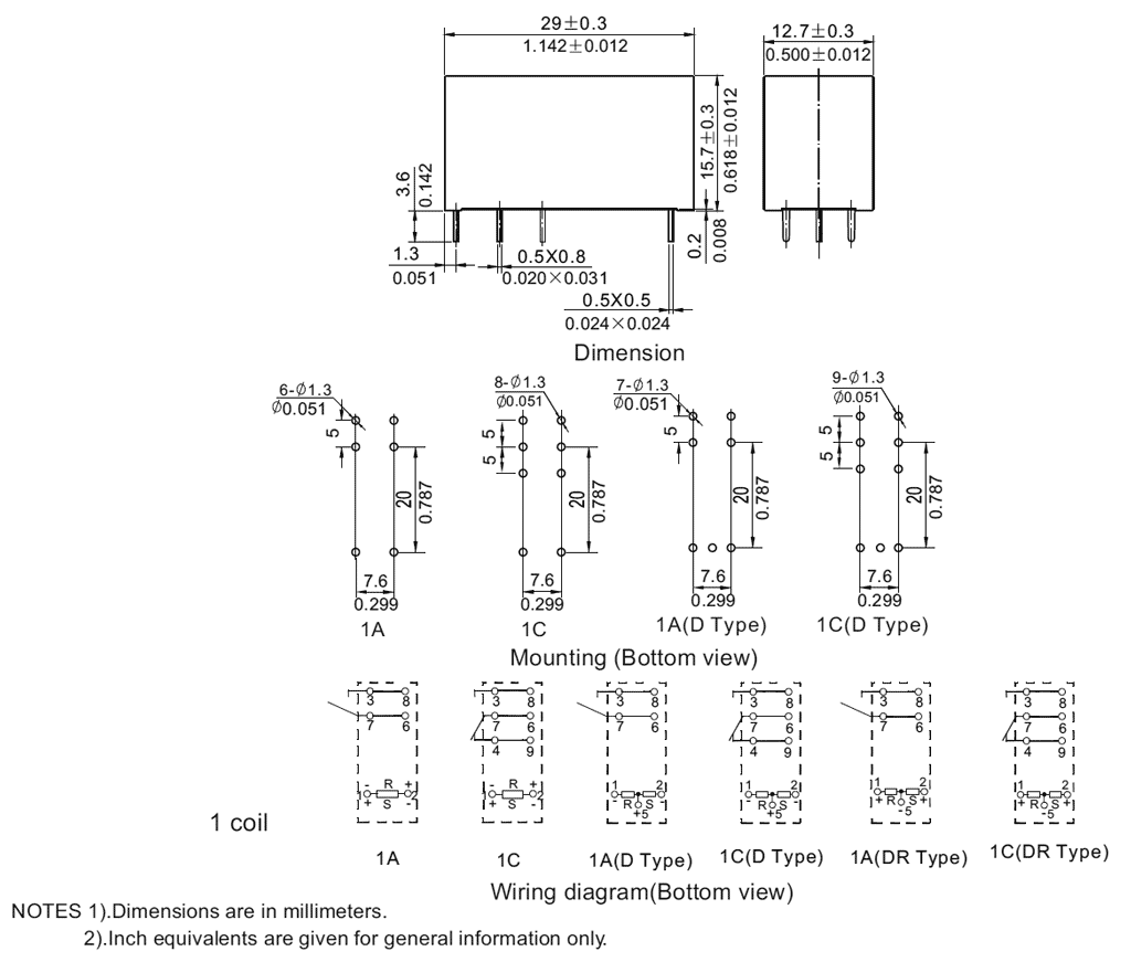Nt75l Az 24 Power Latching Relay Relays Nfr Micros Tech Drawing